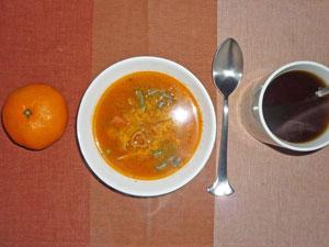 ミネストローネスープ,ミカン,麦茶