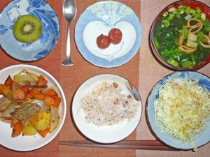 ご飯,肉じゃが,キャベツサラダ,梅干し,ほうれん草とワカメのみそ汁,キウイフルーツ