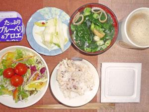 納豆ご飯,サラダ,白菜の漬物,ワカメとほうれん草のみそ汁,ヨーグルト,コーヒー