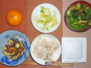 納豆ご飯,茄子の肉みそ和え,白菜の漬物,ワカメとほうれん草のみそ汁,ミカン