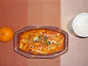 茄子とペンネのトマトソースグラタン,ミカン,ミルクティー