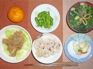 ご飯,豚肉の生姜焼きと蒸しキャベツ,大根の漬物,枝豆,ほうれん草とワカメのおみそ汁,ミカン
