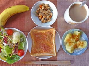 イチゴジャムトースト,サラダ,煮豆,蒸しじゃが,バナナ,コーヒー