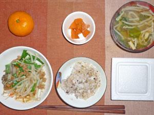 納豆ご飯,ニンジンの煮物,野菜蒸し,もやしとワカメのみそ汁,ミカン