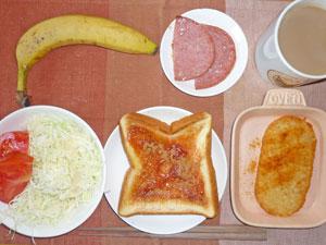 イチゴジャムトースト,厚切りハム,サラダ,ハッシュドポテト,バナナ,コーヒー