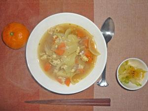 スープカレー(おかわりしました),白菜の漬物,ミカン