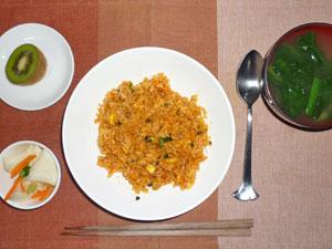 4種類の野菜と粗挽き肉のビビンバ,大根の漬物,ほうれん草とワカメのみそ汁,キウイフルーツ