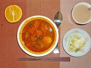 カルビクッパ,白菜の漬物,オレンジ,ミルクティー