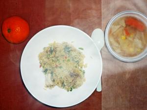 チキンライス,コンソメスープ,ミカン