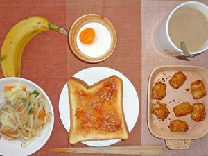 イチゴジャムトースト,野菜炒め,目玉焼き,コロコロポテト,バナナ,コーヒー