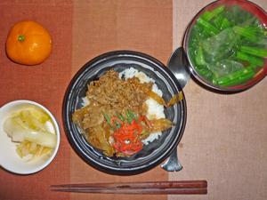 牛丼,白菜の漬物,ほうれん草のおみそ汁,ミカン