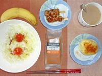 チーズケーキ,サラダ,焼き鳥,蒸しじゃが,バナナ,コーヒー