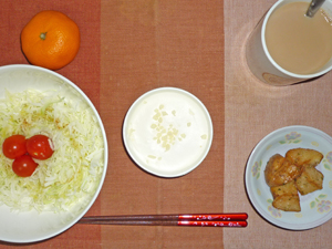 レアチーズケーキ,揚げジャガ,サラダ,ミカン,コーヒー