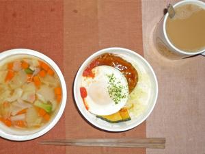ロコモコ丼,野菜たっぷりコンソメスープ