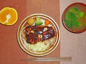 豚テキ丼,ブロッコリーのみそ汁,オレンジ