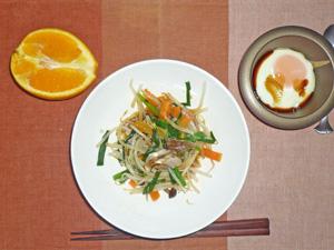 蒸し野菜炒め,目玉焼き,オレンジ