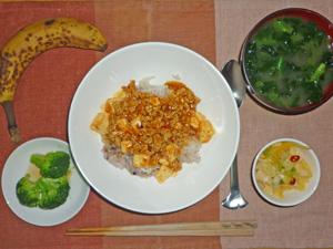 麻婆豆腐丼,ブロッコリーのサラダ,白菜の漬物,ほうれん草のみそ汁,バナナ