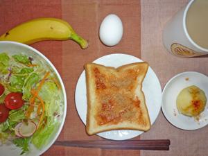イチゴトースト,サラダ,蒸しじゃが,ゆで卵,バナナ,コーヒー