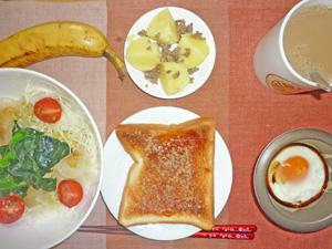 イチゴジャムトースト,サラダ,目玉焼き,ジャガイモとひき肉のソテー,バナナ,コーヒー