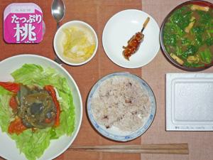 納豆ご飯,温野菜サラダ,白菜の漬物,焼き鳥,ほうれん草のおみそ汁,ヨーグルト