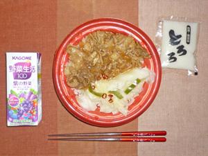 麦とろ生姜焼き丼,野菜ジュース
