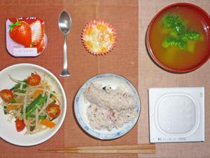納豆ご飯,もやしニラ炒め,プチエビグラタン,ブロッコリーのみそ汁,ヨーグルト