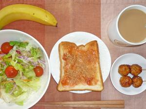 イチゴジャムトースト,サラダ,つくね,バナナ,コーヒー