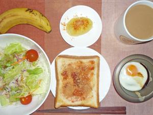 イチゴジャムトースト,サラダ,目玉焼き,蒸しジャガ,バナナ,コーヒー