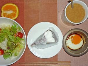 チョコレートケーキ,目玉焼き,サラダ,オレンジコーヒー