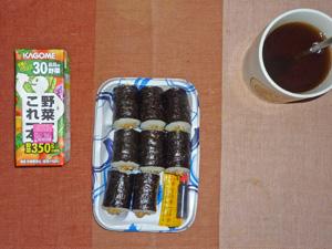 納豆巻き,野菜ジュース,麦茶