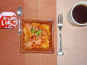 ショートパスタのアラビアータ,ヨーグルト,麦茶