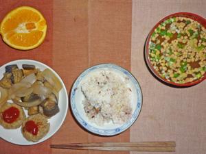 五穀米,茄子と玉ねぎの炒め物,ハンバーグ,納豆汁,オレンジ