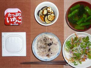 納豆ご飯,サラダ,焼き茄子,ほうれん草のみそ汁,ヨーグルト