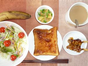 イチゴジャムトースト,サラダ,焼き鳥,ジャーマンポテト,バナナ,コーヒー