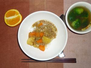 カレーライス,ブロッコリーのスープ,オレンジ
