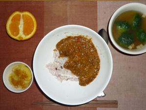 トマトのキーマカレー,蒸しジャガ,ブロッコリーのスープ,オレンジ