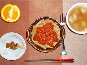 ペンネアラビアータ,焼き鳥,オニオンスープ,オレンジ