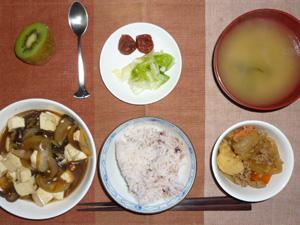 ご飯,豆腐とお野菜の甘味噌煮込み,肉じゃが,白菜の漬物,梅干し,ワカメのみそ汁,キウイフルーツ