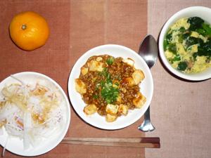 麻婆豆腐丼,大根サラダ,ほうれん草と玉子のスープ,みかん