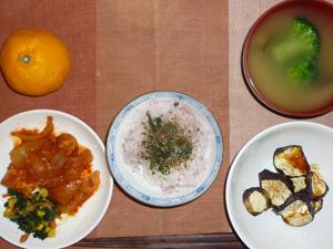 ふりかけご飯,焼き茄子,鶏肉と玉ねぎのトマトソース煮込み