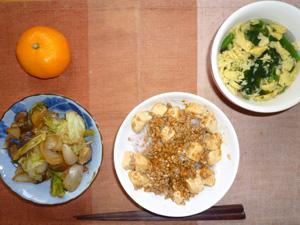 麻婆豆腐丼,野菜炒め(キャベツ,玉ねぎ,茄子),ほうれん草の卵スープ,ミカン