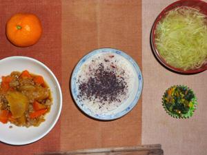 紫蘇ご飯,肉じゃが,ほうれん草のソテー,キャベツのおみそ汁,おみかん