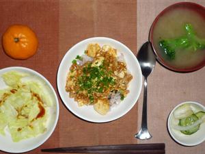 麻婆豆腐丼,蒸しキャベツ,漬物,ブロッコリーのおみそ汁,ミカン