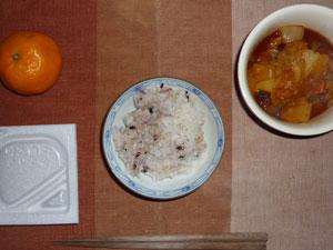 納豆ご飯,野菜シチュー,ミカン