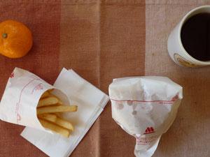 モスバーガー,フレンチフライポテト(S),ミカン,紅茶