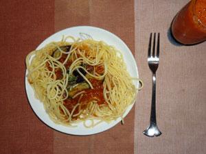 茄子のミートソーススパゲッティ,野菜ジュース