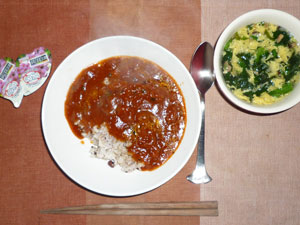 トマトのハヤシライス,ホウレン草と玉子のスープ,こんにゃくゼリー×2