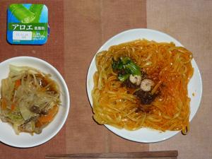 汁なし担々麺,野菜炒め,ヨーグルト