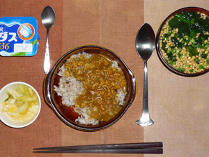 スパイシーチキンカレー,白菜のお漬物,ほうれん草と納豆のおみそ汁,ヨーグルト