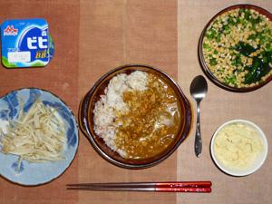 スパイシーチキンカレーライス,蒸しもやし,マッシュポテト,納豆汁,ヨーグルト